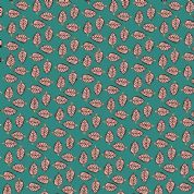 Inprint Indian Spice Market - 4520 - Pink Leaf Print on Blue - 2020 T55 - Cotton Fabric